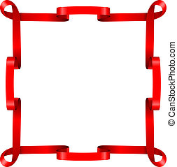 Red ribbon frame isolated on white background.