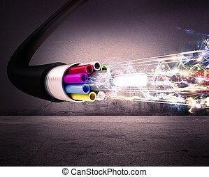 Optical fiber - Image of an optical fiber with lights