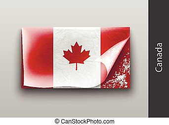 Flag of Canada with the tattered masking tape