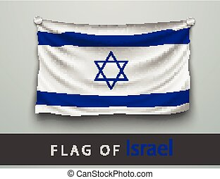 FLAG OF israel battered, hung on the wall