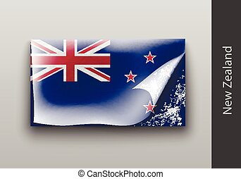 Flag of New Zealand with the tattered masking tape