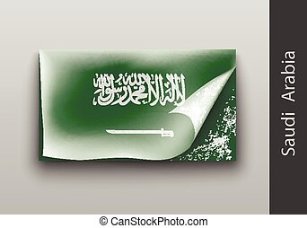 flag of Saudi Arabia with the tattered masking tape