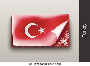 flag of Turkey with the tattered masking tape