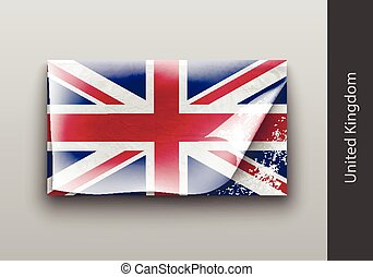 flag of UK with the tattered masking tape