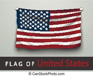 FLAG OF USA battered, hung on the wall, screwed screws