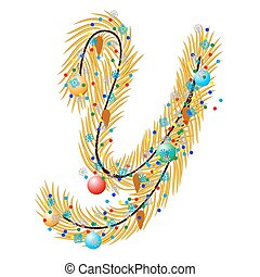 Y - Letter. Made of a Christmas tree with festive...