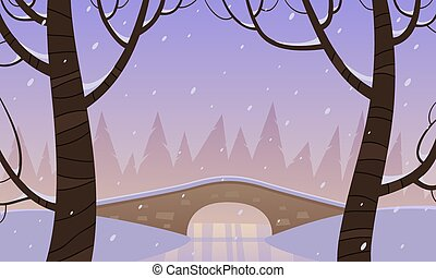 Bridge in the snow - Retro stone bridge in the park, winter...