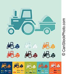 Flat design tractor with trailer - tractor with trailer icon...