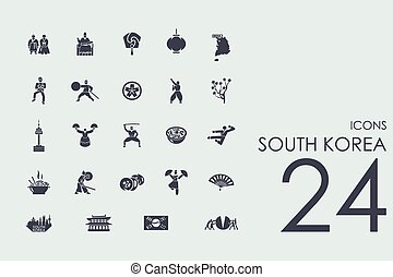 Set of South Korea icons - South Korea set of modern simple...