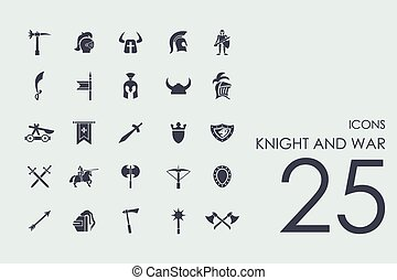 Set of knight and war icons - knight and war set of modern...