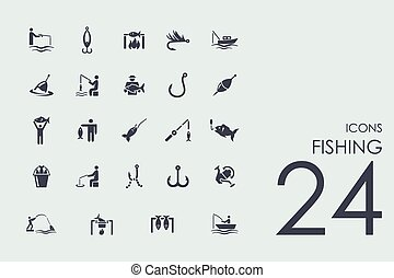Set of fishing icons - fishing set of modern simple icons