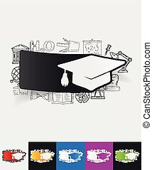 Graduation paper sticker with hand drawn elements - hand...