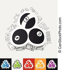 billiards paper sticker with hand drawn elements - hand...