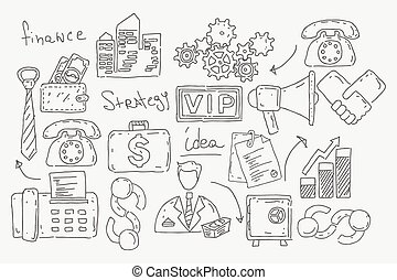 Hand drawn doodles background with business icons.