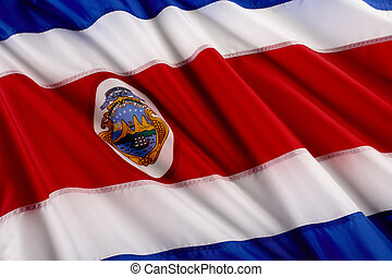 Flag of Costa Rica - Close up shot of wavy Costa Rican flag