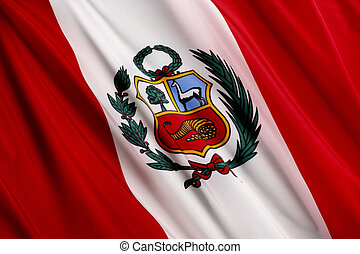 Flag of Peru - Close up shot of wavy Peruvian flag