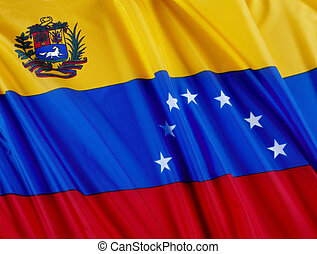 Flag of Venezuela - Close up shot of wavy Venezuelan flag