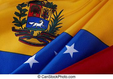Macro shot of Venezuelan flag - Extreme close up of wavy...