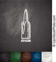 gun cartridge icon Hand drawn illustration Chalkboard Design...