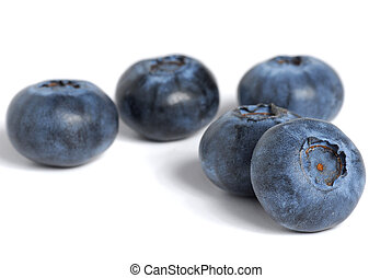 Blueberries - Extreme close-up image of blueberries on white...