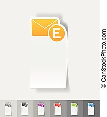 realistic design element email - email paper sticker with...