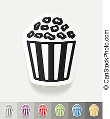 realistic design element pop corn - pop corn paper sticker...