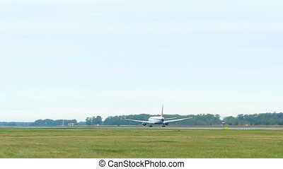 Airplane take-off - Boeing 767 taking off from Tolmachevo...