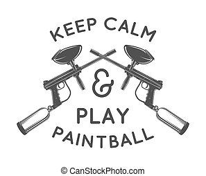Paintball logo template. Paintballing poster design. Vector...