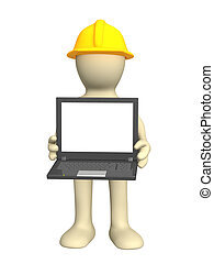 3d puppet with laptop in hand Object over white