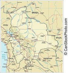 Bolivia Physiography map - Country Physiography map