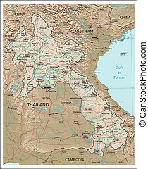 Laos Physiography map