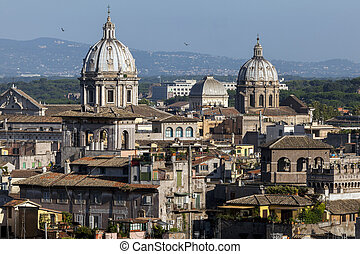 Dome Of Basilica Church Sant Andrea Della Valle, Rome, Italy...