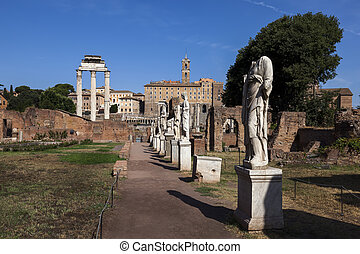 Courtyard of the House of the Vestal Virgins - ROME, ITALY -...