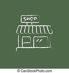 Shop icon drawn in chalk.