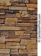 Multi Colored Yellow Stone - Wall of Multi Colored Stone...