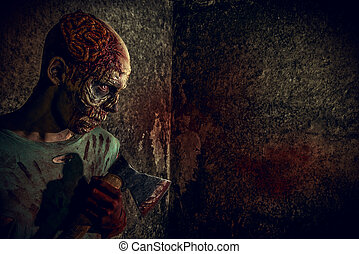 frightful - Horrible scary zombie man on the ruins of an old...