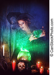 green light - Attractive witch conjures in the wizarding...
