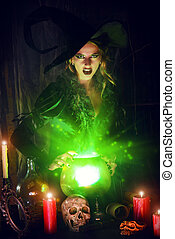 magical light - Attractive witch conjures in the wizarding...