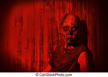 red light - Frightening bloody zombie man in blood-red...