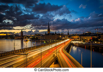 View of Galma Stan at sunset from Slussen, in Souml;dermalm,...