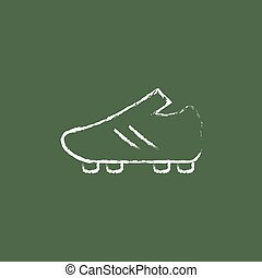 Football boot icon drawn in chalk.