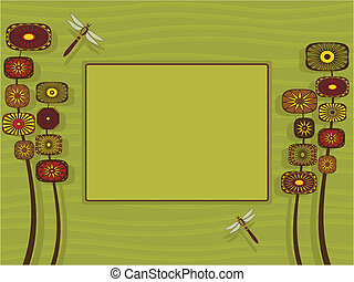 Funky Garden Frame - Illustration of a stylized garden with...