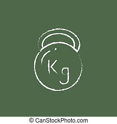 Kettlebell icon drawn in chalk - Kettlebell hand drawn in...