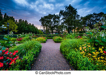 Gardens at Kungstrauml;dgaring;rden, in Norrmalm, Stockholm,...