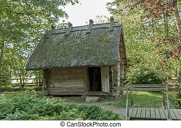 house with a thatched roof - Old rural house restored and...