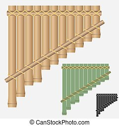 Pan flute, bamboo wind musical instrument - Pan flute,...