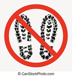 dirty shoes are prohibited, footprint of dirty boot - vector