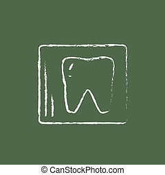 X-ray of the tooth icon drawn in chalk - X-ray of the tooth...