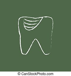Tooth decay icon drawn in chalk - Tooth decay hand drawn in...