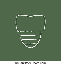 Tooth implant icon drawn in chalk - Tooth implant hand drawn...